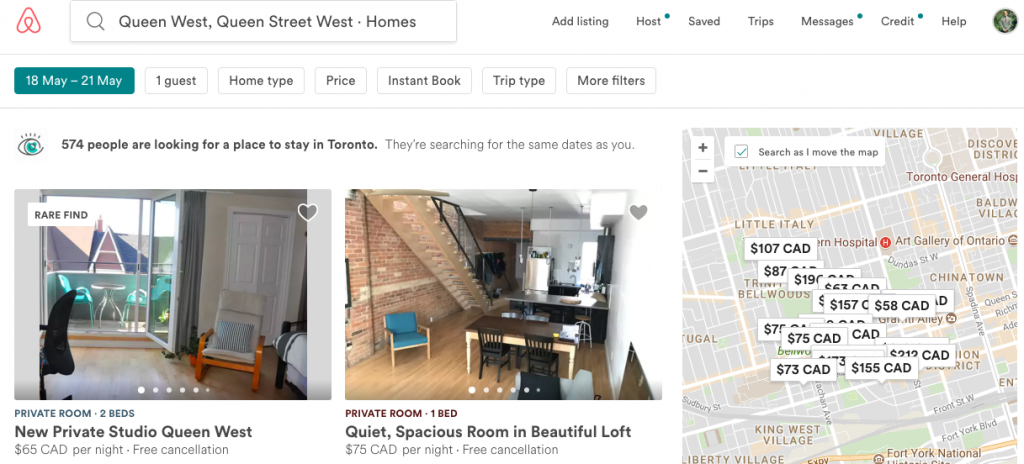Rent a room AirBnB